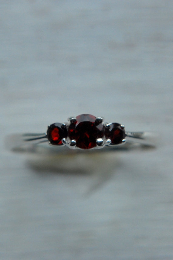 Genuine Garnet Sterling Silver Ring size 8