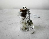 Glass Vial, Dandelion, Hand Stamped Wish Charm Necklace