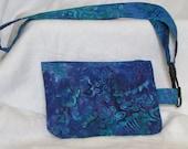 Lanyard with blue green batik print