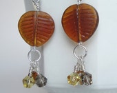 Brown Glass Leaf and Bicone Bead Dangle Earrings / Brown Glass Earrings / Elegant Dangle Earrings