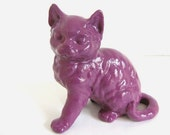 Kitty Cat Figurine Purple Painted Retro Upcycled Home Decor