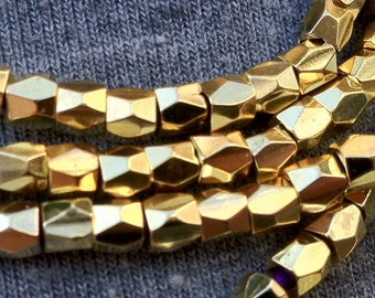 Solid Brass 3mm Nugget Beads, Faceted Nugget Beads, wrap bracelet supplies, leather wrap beads,