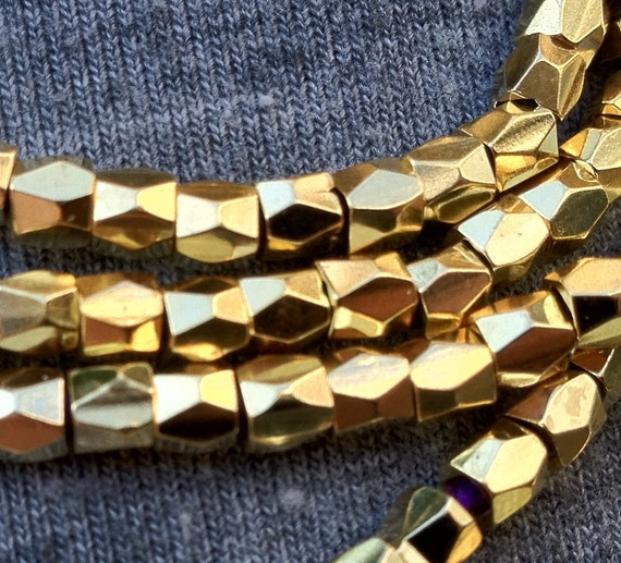 GOLD 3mm Nugget Beads, Faceted Nugget Beads, wrap bracelet supplies, leather wrap beads,