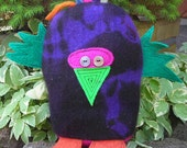 Felted sweater stuffed animal toy Leilani shibori purple repurposed uncycled Frankencritter  Holiday Sale
