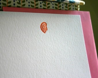 Flat Card Set with Letterpress Paisley