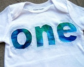 First Birthday Shirt - Custom Children's Onesie - Blue, Green, and Turquoise