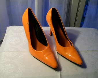 Day Glow Orange Pumps - Anne Michelle - Size 10 - Gently Worn