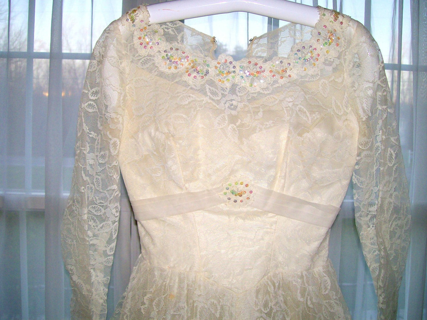 1940s Ivory Lace Wedding Gown Wedding Dress Handmade