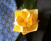 Origami lotus Boutonniere, Yellow lotus flower, Yellow wedding accessories, Handmade Boutineers