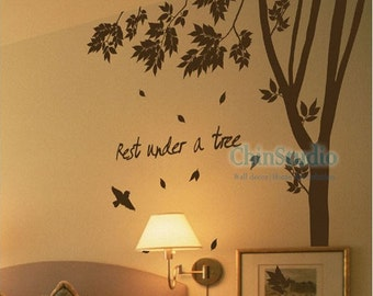 Tree Vinyl wall decals tree decals wall stickers nursery wall decals- Rest under a 110 inch Tall Tree wall arts