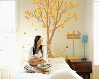Vinyl wall decal tree decals wall stickers nursery wall decal-Happy tree wall art Home decor