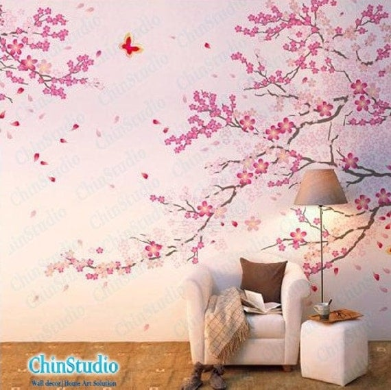 Cherry blossom tree wall decals with butterfly wall by for Cherry tree mural