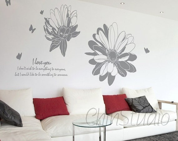 Vinyl Wall Decals wall sticker floral wall decals-Blooming flower with butterfly