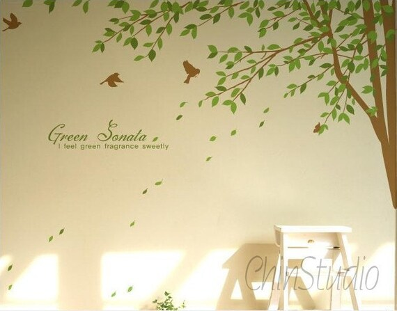 Tree Vinyl Wall Decals wall sticker nature wall decals-Corner tree with falling leaves