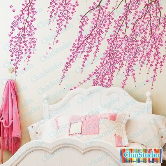 Cherry blossom tree wall decal for living room vinyl by for Cherry blossom tree wall mural