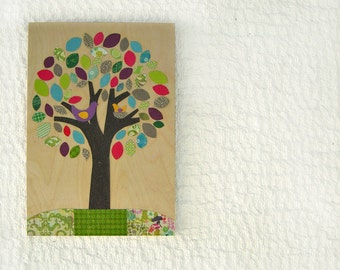 Tree nursery, Kids wall decor, Children art tree,eco friendly collage on wood,Wall Art, Nursery Art, Kids room art