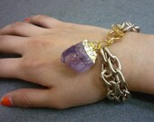 GOLD DIPPED Amethyst Crystal Quartz Point Double Gold Chain Link Layered Bracelet