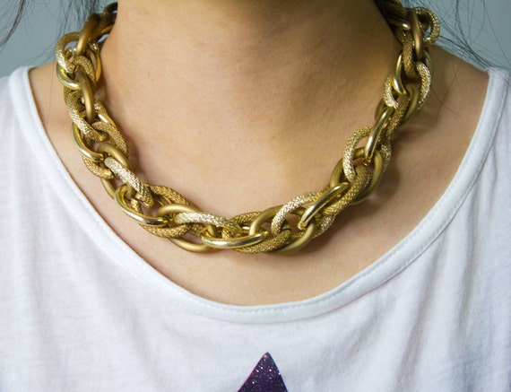 TWO TONE Chunky Gold & Bronze Entwined Rope Chain Necklace