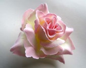 4 Cream & Pink Edge Roses Artificial Silk Flower Heads - 3.75 inches - Wholesale Lot - for Wedding Work, Make Hair clips, headbands, hats