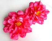 4 Dark Pink silk Peony heads - Artificial Flower - 4 inches - Wholesale Lot - for Wedding Work, Make Hair clips, headbands, hats