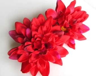 4 Red silk Dahlia heads - Artificial Flower - 4 inches - Wholesale Lot - for Wedding Work, Make Hair clips, headbands, hats