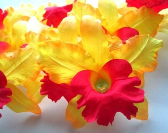 10 Yellow Hawaiian Cattleya Heads - Artificial Silk Flower Floral - 3.5 inches - Wholesale Lot - for Wedding Work, Make Hair clips