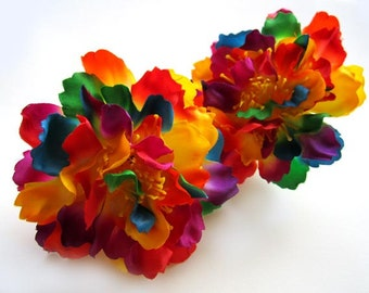 4 Rainbow silk Peony heads - Artificial Flower - 4 inches - Wholesale Lot - for Wedding Work, Make Hair clips, headbands, hats