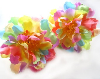 4 Light Rainbow silk Peony heads - Artificial Flower - 4 inches - Wholesale Lot - for Wedding Work, Make Hair clips, headbands, hats