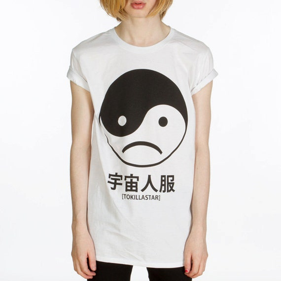 yin yang sad face t shirt