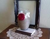 Jute Wrapped Vase with Burlap Rosette