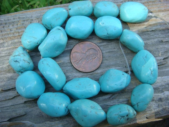 "Soft Blue Turquoise Nuggets - 12"" strand (19 beads)"