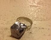 Galena Square Stone Adjustable Ring Small Grey Black