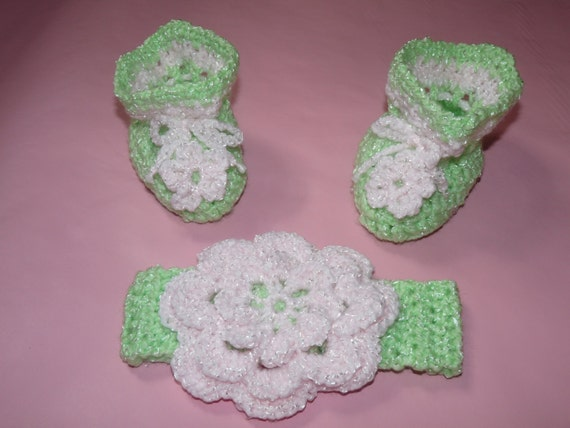 SALE Baby girl pink and green headband and booties set