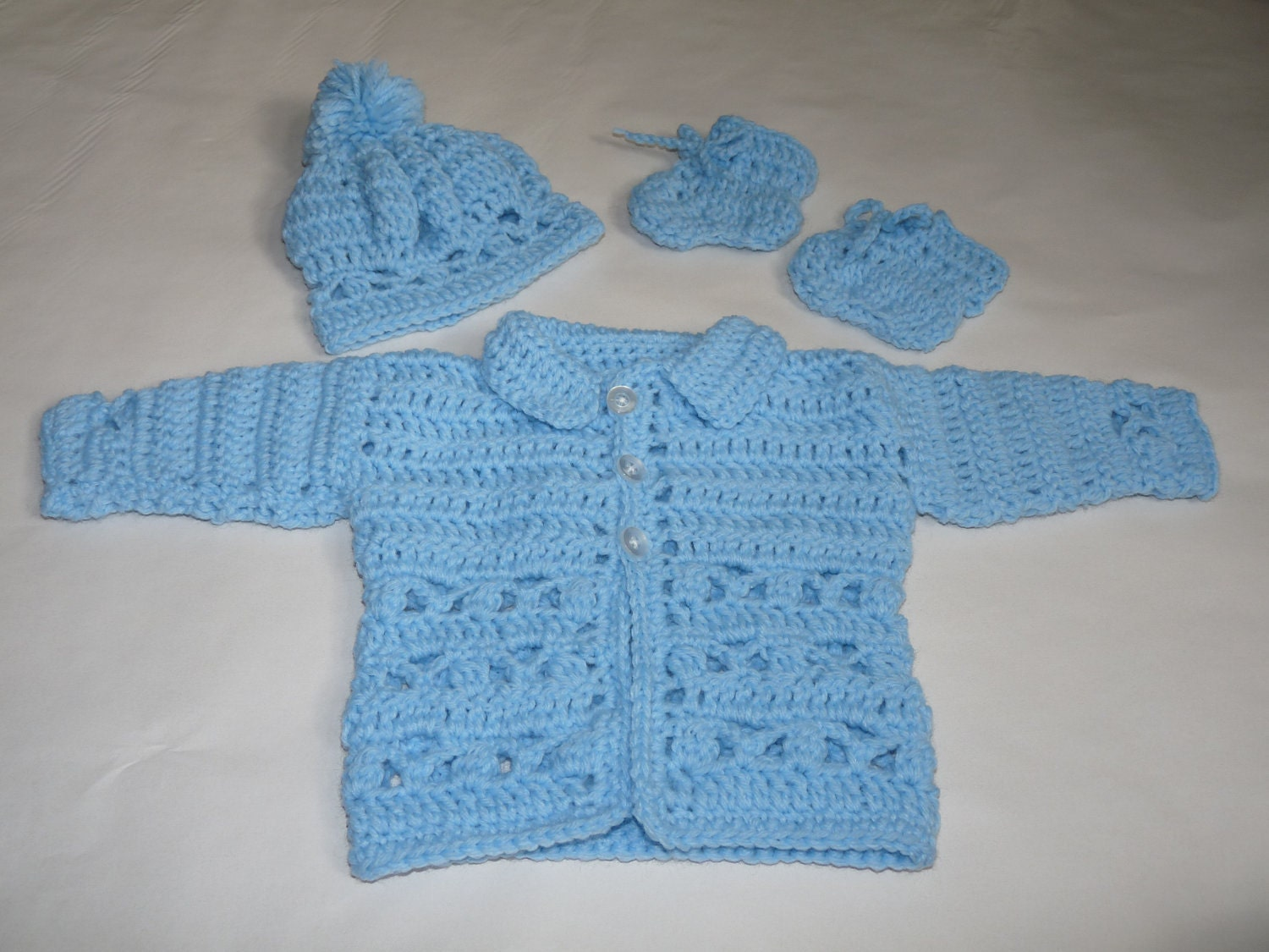 Baby boy crochet blue layette outfit sweater jacket hat and