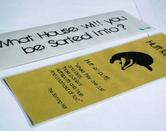 Yellow and Black Badger Wizarding School Double-Sided House Bookmark