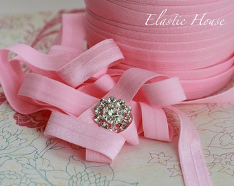 "5 or 10  Yards 5/8"" Fold Over Elastic - Candy Pink Color - DIY headband/Hair Bow/Hair Accessories Supplies"