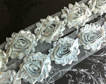 "2.5"" Shabby Rose Trim - Metallic Silver Color - Flowers Trim -  Shabby Trim - Hair Accessories Supplies"