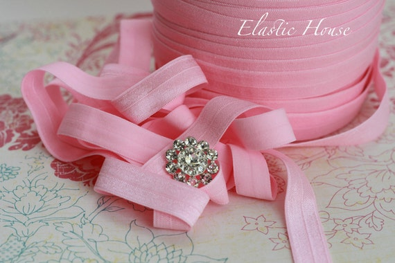 """5 or 10  Yards 5/8"""" Fold Over Elastic - Candy Pink Color - DIY headband/Hair Bow/Hair Accessories Supplies"""