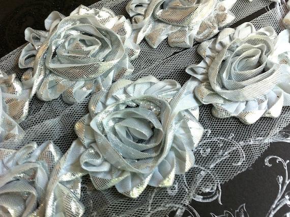 "2.5"" Shabby Rose Trim-  Shiny/Metallic Flowers - Silver Color- Chiffon Trim - Shabby Trim - Hair Accessories Supplies"