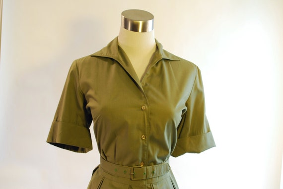 Green Shirt Dress with Cuffed Sleeves & Original Belt - L XL
