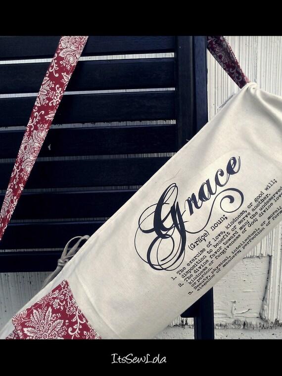 LARGE Yoga Bag Red Persimmon Grace Handmade
