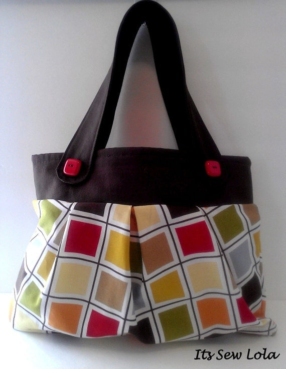 The Ramona - Squares in Color - Pleated Medium Handbag - Red Squares - Handmade