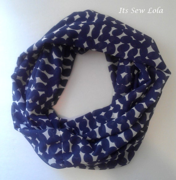 FREE SHIPPING - Navy Ovals - Summer Infinity Scarf