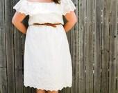Off-Shoulder Cream Eyelet Cotton Summer Dress