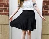 1980s Laura Ashley Navy Blue and White Polka Dot Skirt