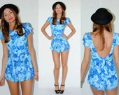 Stunning low back playsuit with frilly sleeves. HerPony Custom Made.