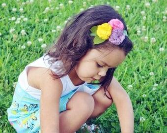 Newborn Spring Felt Carnation Headband / Toddler Headband / Adult Headband / Purple, Pink & Yellow Felt Flower Headband