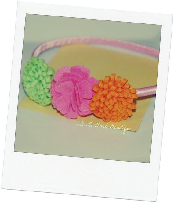 Felt Flower Headband / Girl Felt Flower Headband / Satin Wrapped Plastic Headband / Adult Headband / Toddler Headband / Bright Felt Headband