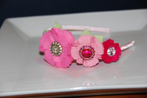 Pink, Pink and More Pink Flower Felt Satin Wrapped Headband / Toddler Headband / Spring Headband / Easter Headband / Adult Headband