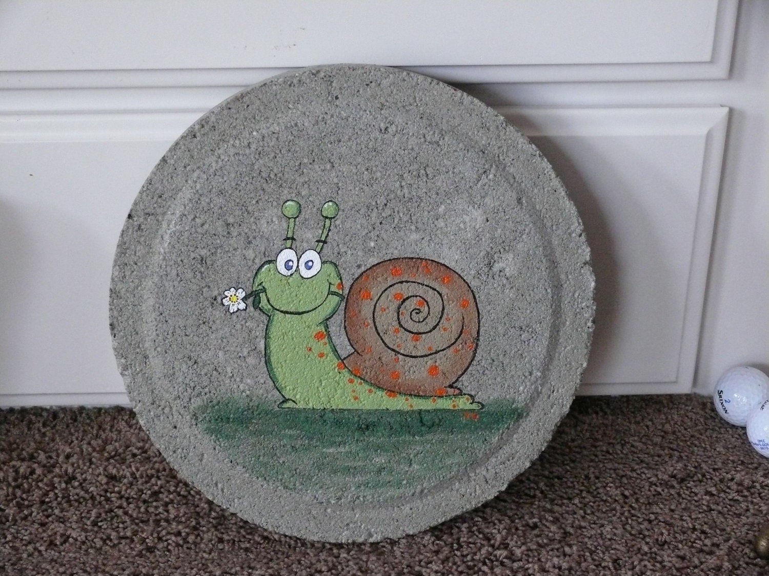 Happy snail hand painted stepping stone dbd35 - Hand painted garden stones ...